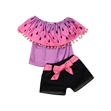 503d9f17b3 Amazon.com : Toddler Baby Girl Kid Watermelon Printed Ruffle Tops+ Jeans  Shorts Outfits Set : Baby