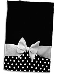 """3D Rose Cute Fifties Style Black Polka dot Pattern with Elegant Sophisticated White Ribbon Bow TWL_56662_1 Towel, 15"""" x 22"""""""