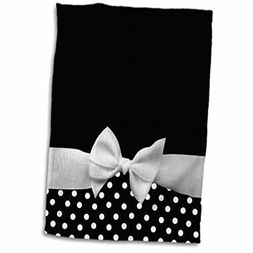 (3D Rose Cute Fifties Style Black Polka dot Pattern with Elegant Sophisticated White Ribbon Bow TWL_56662_1 Towel, 15