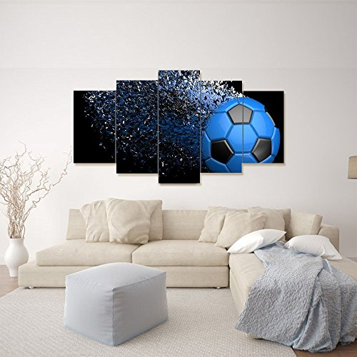 Waterproof Canvas Painting Wall Art Soccer Football Sports Themed Canvas Wall Art for Boys Room Wall Decor Boys Gift Wall Pictures for Living Room & Bedroom, Blue, Framed, size 3 by Garth