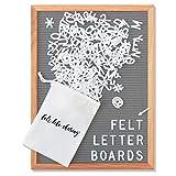 Gray Felt Letter Board 12x16 Inches. Changeable Letter Boards Include 348 1'' White Plastic Letters & Oak Frame.