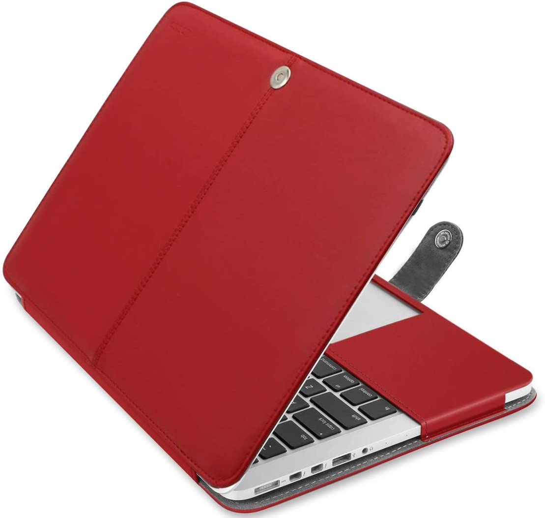 MOSISO MacBook Pro 13 inch Case, Premium PU Leather Book Folio Protective Stand Cover Sleeve Compatible with MacBook Pro 13 inch Retina (A1502/A1425, Version 2015/2014/2013/end 2012), Red