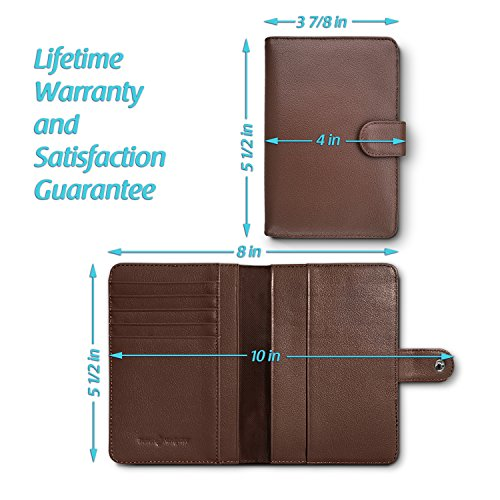 RFID Blocking Leather Travel Passport Holder With Snap, Bifold Wallet For Men And Women, Brown by Travel Navigator (Image #4)