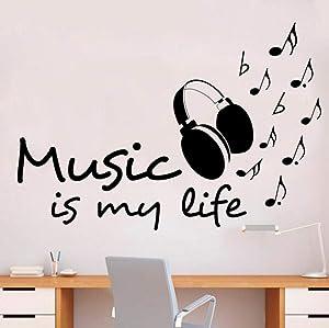 Pegatina De Pared Bricolaje Mural Pvc Music Is My Life Headset Room Love Clef Decor Notes Melody Tatuajes De Pared Para Dormitorio Decoración De Aulas 57X84cm