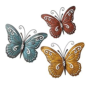Nature Inspired Metal Butterfly Wall Art Trio For Indoor Or Outdo