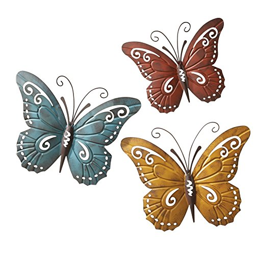 Butterfly Metal Flowers (Nature Inspired Metal Butterfly Decorative Wall Art Trio, Hang Indoors or Outdoors)