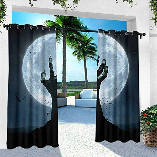 leinuoyi Halloween, Outdoor Curtain Extra Wide, Realistic Zombie Earth Soil Full Moon Bat Horror Story October Twilight Themed, Outdoor Privacy Porch Curtains W120 x L108 Inch Blue -
