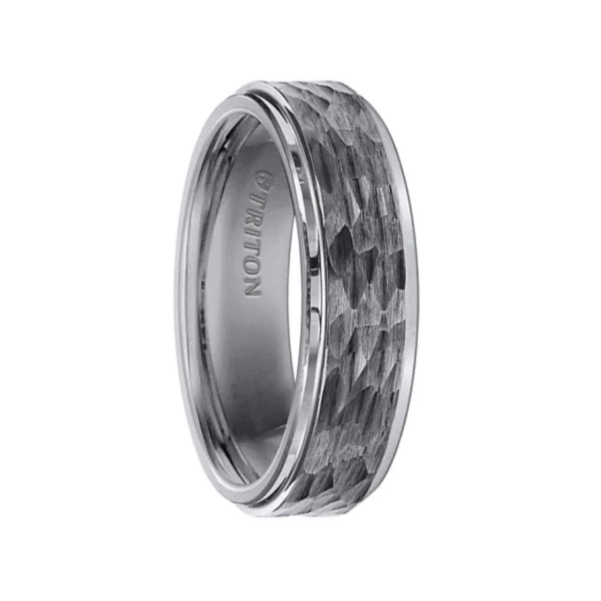 Triton Ring Tungsten Carbide Step Edge Comfort Fit Band with Center Hammered Texture