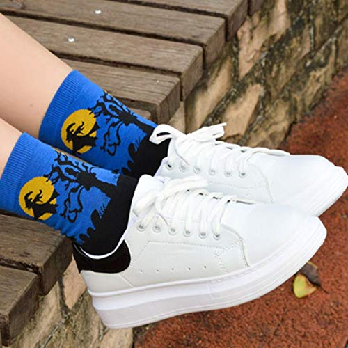 Adeshop Mid Socks Cotton 1 Blue Floor Cartoon Halloween Lovers Pairs Print 3D zqXrwxCz