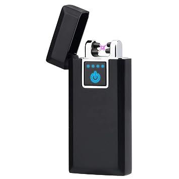 LAZU Electrónica mechero, lighter USB Batería electrónica doble Arc encendedor, resistente al viento sin llama encendedor con caja de regalo: Amazon.es: ...