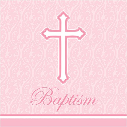 Creative Converting 18 Count Baptism Lunch Napkins, Faith Pink