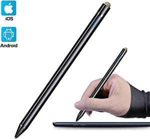 Active Stylus Compatible with Apple iPad, Homagical Stylus Pen for Touch Screens, Rechargeable Capacitive 1.5mm Fine Point iPad Pen Tablets Stylus with Pen Bag/Anti-friction Glove