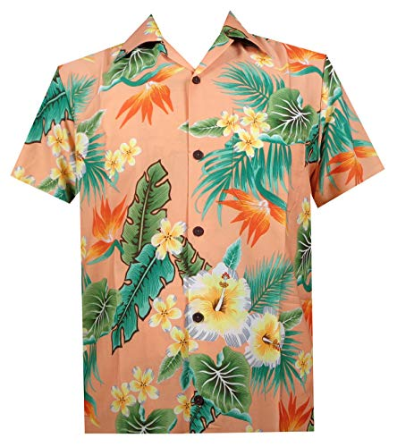 Hawaiian Shirt 46 Mens Flower Leaf Beach Aloha Party Camp Holiday Peach 2XL