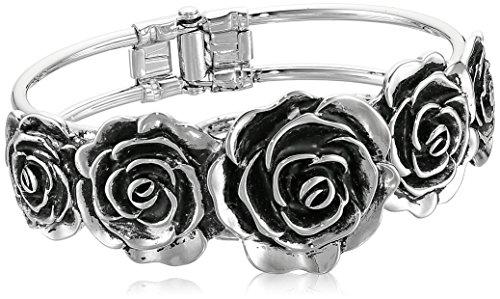 Sterling Silver Rose Bracelet - 1928 Jewelry Silver-Tone Black Enamel Flower Cuff Bracelet