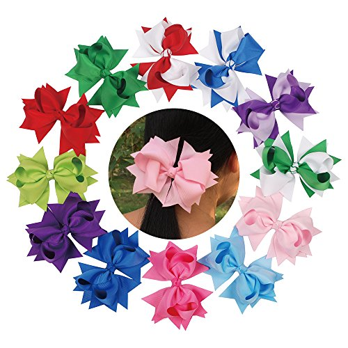 "Mike & Mary Girls Boutique Hair Bows Large 5"" with Alligator Clips Hair Barrettes accessories for Teens Girls (12pcs 5'' Mix Sets) by Mike & Mary"