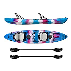 Vibe Kayaks Yellowfin 130T 13 -foot Tandem Sit On Top Kayak 2 or 3 Person Package - Includes 2 Hero Seats and 2 Paddles (Jam Berry)