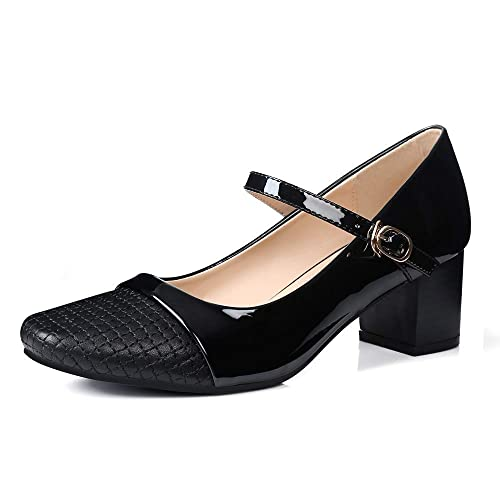 Womens Ladies Mid Block Heel Mary Jane Office Work Formal Strap Dolly Shoes Size