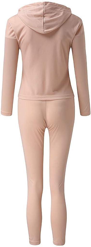 Chaofanjiancai Women Jogger Outfit Ladies Autumn Winter Tracksuit Set 2Pcs Casual Hooded Sweatshirt and Long Pants