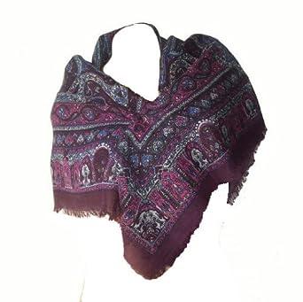 2acf72cab218 itendance Foulard carré Etole écharpe chale femme 100% laine violet prune  fushia - idée cadeau