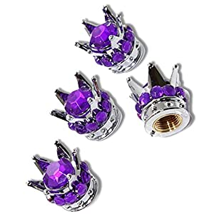 """(4 Count) Cool & Custom """"King's Rhinestone Crown"""" Tire Wheel Valve Stem Cap Seal Made of Metal {Purple & Silver Colors Metal Internal Threads for Easy Application Rust Proof Fits For Most Cars}"""