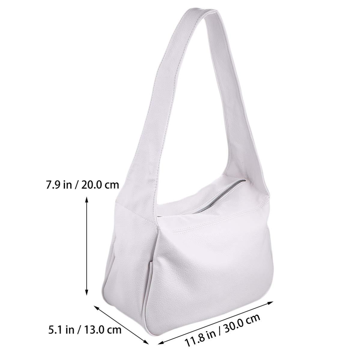 PRETYZOOM PU-läder axelväska matchande handväska stor kapacitet mode ficka bok handväska för resor shopping utomhus (vit) Vitt