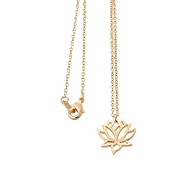 b78f855650787c Amazon.com: SENFAI New Simple Gold and Silver Lotus Necklaces for Women  Elegant Vivid Lotus Flower Pendant Necklaces (Gold): Jewelry