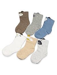 Baby Boy Girl Socks 5-Pack Toddler Socks Infant Cartoon Pattern Cotton Socks