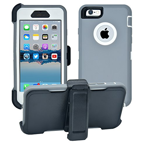 iPhone 6 / 6S Cover | 2-in-1 Screen Protector & Holster Case | Full Body Military Grade Edge-to-Edge Protection with carrying belt clip | Drop Proof Shockproof Dustproof | Grey / White