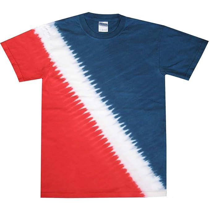 a9356eb8c73 Tie Dye Mania Adult Tie-Dyed Patriotic Diagonal Striped Diver T-shirt -  Medium