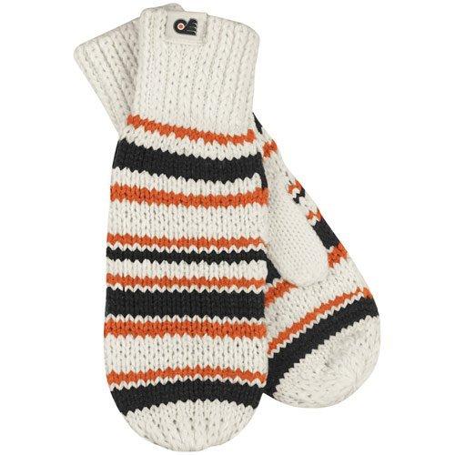 Reebok Womens Mitten - NHL Reebok Philadelphia Flyers Womens Striped Knit Mittens - White