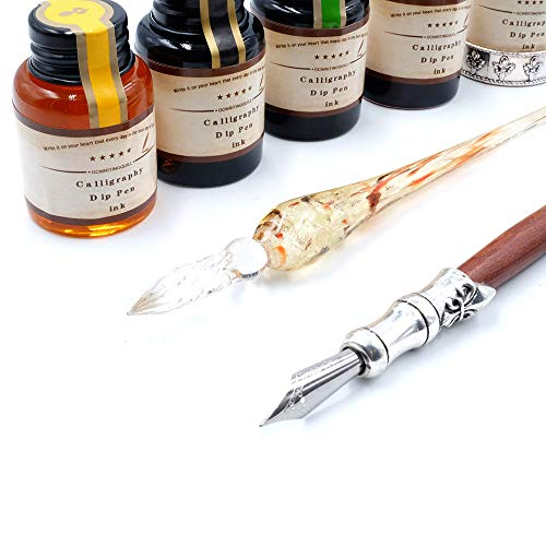GC QUILL MU-02 Calligraphy Pen Set, Glass Dip Pen and Handcrafted Wooden Dip Pen Gift Set with 5 Colors Calligraphy Ink 6 Nibs 1 Pen Holder, Calligraphy Set for Beginners by GC QUILL (Image #7)