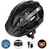 PHZ. Adult Bike Helmet CPSC Certified with Rechargeable Led Rear Light/Detachable Visor Ideal for Road Ride Mountain Bike Bicycle Urban Commuter Adjustable Size for Adult Men/Women