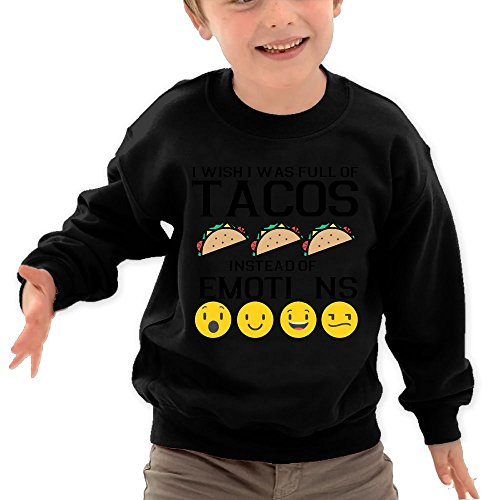Price comparison product image Puppylol Wish I Was Full Of Tacos Instead Of Emotions Kids Classic Crew-Neck Pullover Sweatshirt Black 4 Toddler