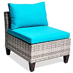 ART TO REAL Outdoor Patio Wicker Armless Accent Chair with 3.15'' thikness Cushions, Sea Blue (Blue Armless Chair)