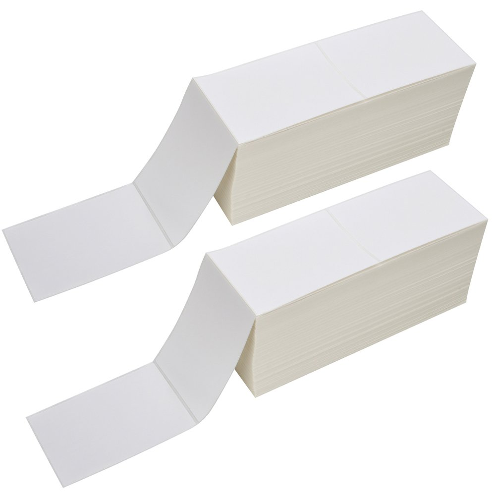 2 Stacks Fanfold 4'' x 6'' Direct Thermal Labels, 2000 Labels Per Stack, White Perforated, Permanent-Adhesive, Compatible Zebra, Elton