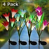Solar Garden Lights, 4 Pack Solar Lily Flower Lights Multi-Color Changing Landscape Lighting Outdoor Solar Ground Lights Path Lights for Garden, Patio, Yard, Walkway