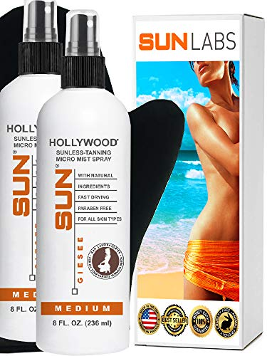 Spray Tan at Home Sunless Tanning Hollywood Medium 8oz Micro-Mist Self Tanner 2- Pack +Tanning Mitt (Packaging May Very) (Best At Home Tanner)