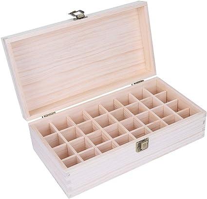 Caja de Aceites Esenciales Madera Organizador - 32 Botellas de Perfume Almacenamiento de Aceite Esencial: Amazon.es: Belleza