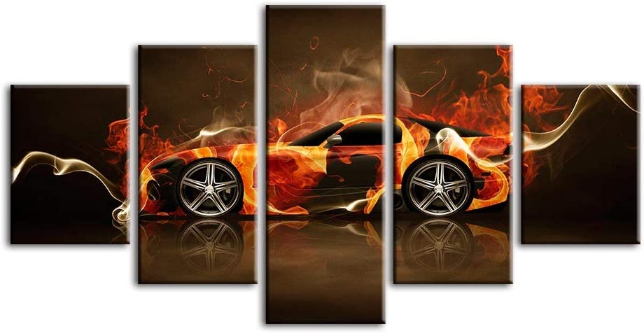 Amazon Com Qjxx Car Pictures Black Sports Cars Painting Print On Canvas 5 Panel Wall Art Modern Artwork Home Decorations For Living Room Bedroom Boy Room B 20cm35x2 20x45x2 20x55x1 Posters Prints