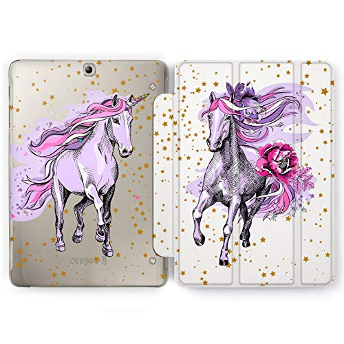 Wonder Wild Purple Unicorn Samsung Galaxy Tab S4 S2 S3 Smart Stand Case 2015 2016 2017 2018 Tablet Cover 8 9.6 9.7 10 10.1 10.5 Inch Clear Design Horse Narwhal Mythic Peonies Hearts Gallop Tender]()