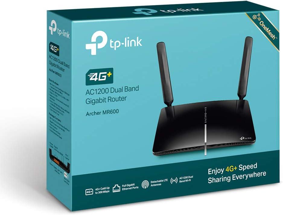TP-Link Archer MR600 Router 4G + Advanced LTE CAT6, Wi-Fi AC1200 5GHz & 2.4GHz, 4 Puertos Gigabit, 2 Antenas Desmontables, MicroSIM, Compatible con Todos los operadores.: Tp-Link: Amazon.es: Informática