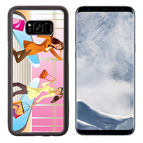 Liili Premium Samsung Galaxy S8 Plus Aluminum Backplate Bumper Snap Case two fashion shopping girl with bag in mall IMAGE ID - Mall Bea