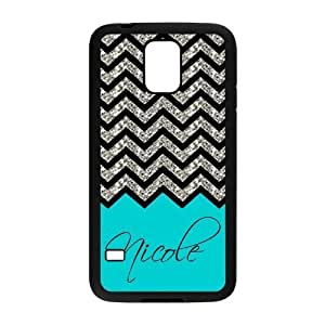 Black Grey Chevron & Turquoise Pattern (NOT ACTUAL GLITTER) Personalized Custom Samsung Galaxy S5 Best Rubber & Plastic Case