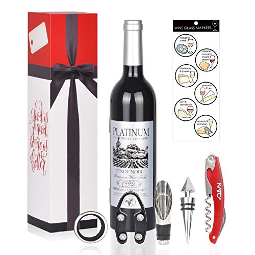 Wine Bottle Accessories Gift Set - 5 Pcs Wine Opener Corkscrew Screwpull Kit with Drink Stickers by Kato, Perfect Valentine's Day, Wedding Gifts for Wine Lover & Drinker, Silver