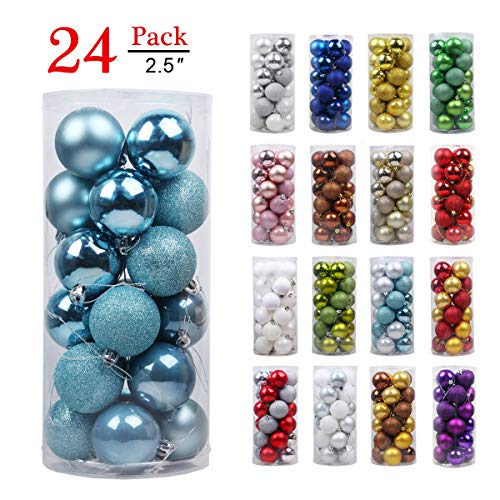 (GameXcel Christmas Balls Ornaments for Xmas Tree - Shatterproof Christmas Tree Decorations Large Hanging Ball Royal Blue 2.5