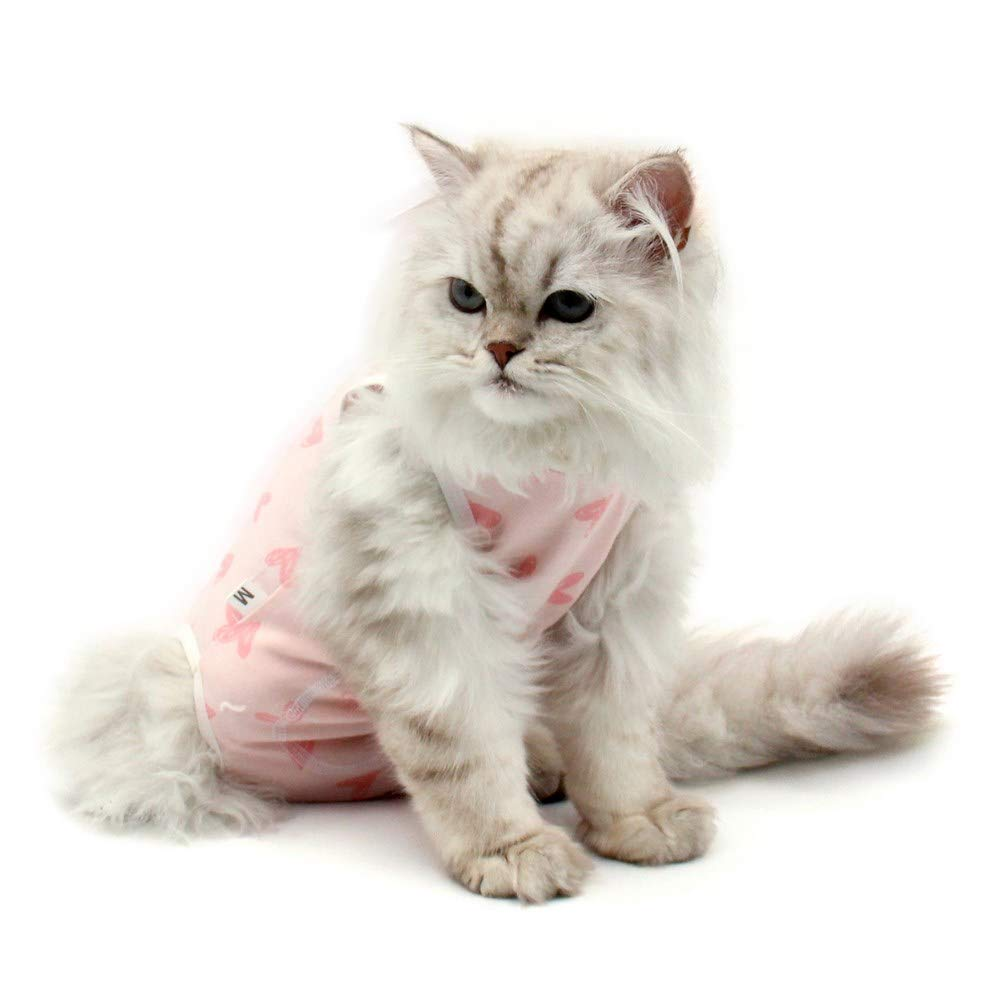 Due Felice Cat Professional Surgical Recovery Suit for Abdominal Wounds Skin Diseases, After Surgery Wear, E-Collar Alternative for Cats Dogs, Home Indoor Pets Clothing Pink Heart M by Due Felice