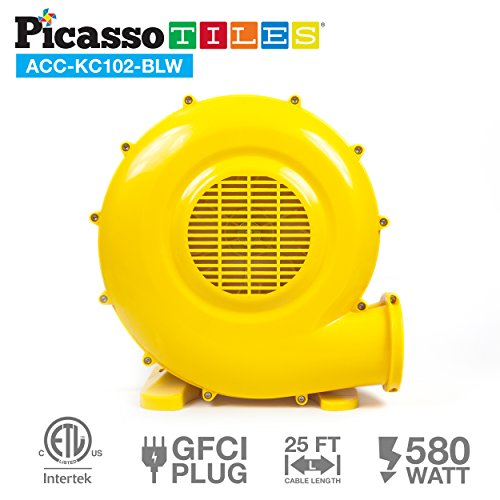 PicassoTiles ETL Certified Inflatable Bounce House Bouncy Castle 580 Watt Air Blower Pump Fan w/ 25ft Cable Length, UL Certified GFCI Plug, Top-Mounted Handle & 4 Stakes