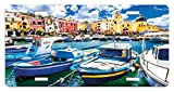 zaeshe3536658 Italy License Plate, Colorful Procida Island with Fishing Boats Summertime Tourism Vacation Travel Theme, High Gloss Aluminum Novelty Plate, 6 X 12 Inches, Multicolor