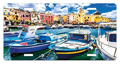 zaeshe3536658 Italy License Plate, Colorful Procida Island with Fishing Boats Summertime Tourism Vacation Travel Theme, High Gloss Aluminum Novelty Plate, 6 X 12 Inches, Multicolor by zaeshe3536658