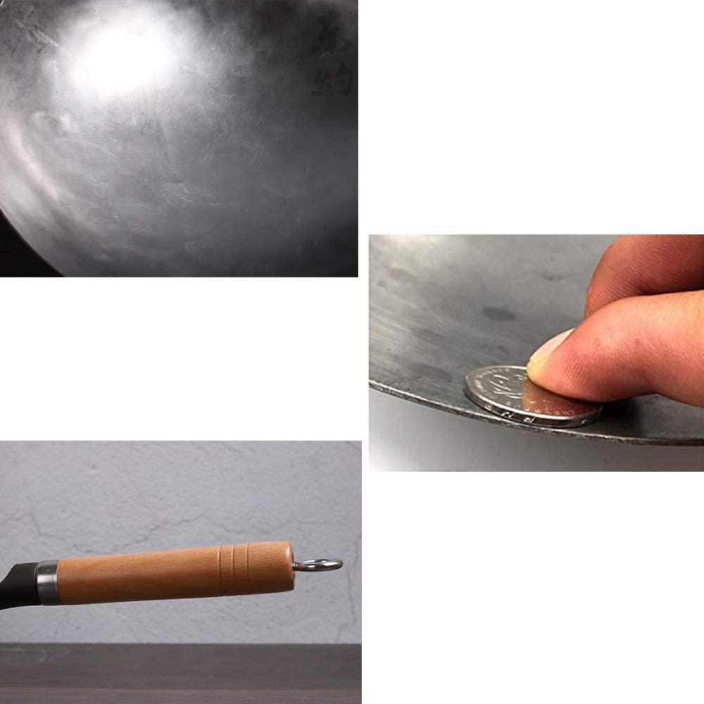 Wok, 34cm//13.4inchs Paisdola 1,8mm d/épaisseur Wok en Fer Fait Main Chinois avec Oreille et Manche Long en Bois